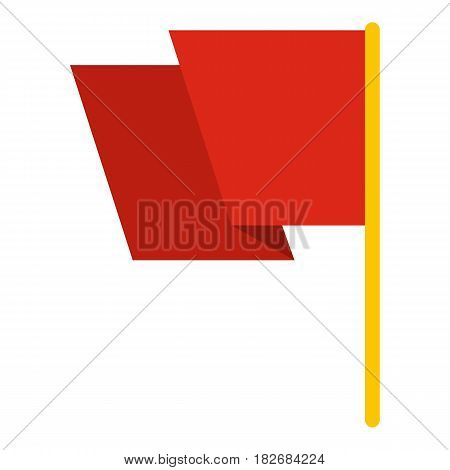 Red flag icon flat isolated on white background vector illustration