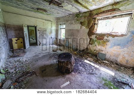 Inside the garrison shop in Skrunda ghost town former USSR military base in Lativa