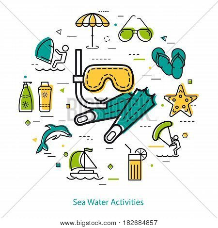 Vector round linear concept of summertime vacation. Mask and flippers in center and dolphin, starfish, sunglasses, yacht, surfing and beach umbrella icons