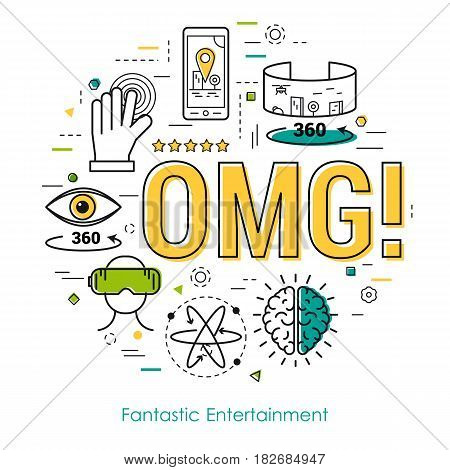 Fantastic entertainment virtual reality concept and OMG letters- vector Line Art illustration. Modern round web banner