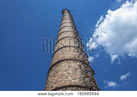Old chimney in Skrunda ghost town former USSR military base in Lativa