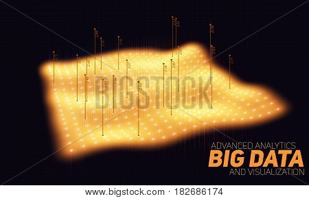 Big data orange plot visualization. Futuristic infographic. Information aesthetic design. Visual data complexity. Complex data threads graphic visualization. Social network. Abstract data graph.