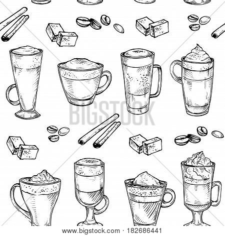 Sketch seamless pattern of Coffee kind drinking cup. Vector hand drawing illustration isolated on white background. Espresso, cappuccino, glace, latte, irish, mocha, coffee dessert