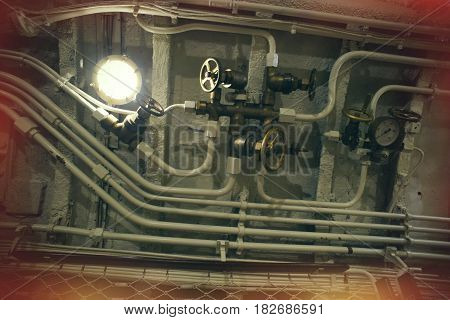Detailed View Of Valves And Pipes In Old Submarine