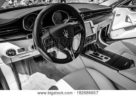 BERLIN - JUNE 05 2016: Interior of full-size luxury car Maserati Quattroporte VI since 2013. Black and white. Classic Days Berlin 2016