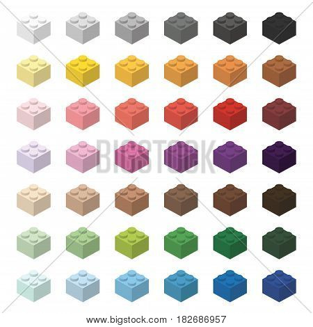 Children brick toy simple color spectrum bricks 2x2 high, isolated on white background