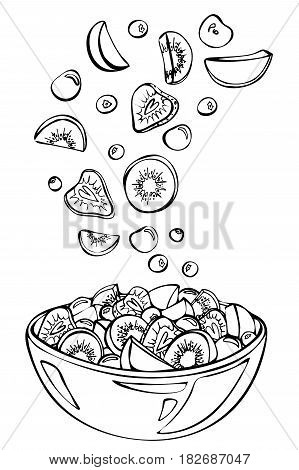 Vector sketch of summer salad.Fruit salad ingredients in the air. Kiwi,cherry,strawberry,peach and blueberry in glass bowl isolated on white background