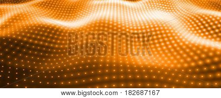 Abstract vector background with orange neon lights forming wavy surface. Neon cyber surface flow. Smooth orange cyber relief from glowing particles. Elegant modern backdrop.