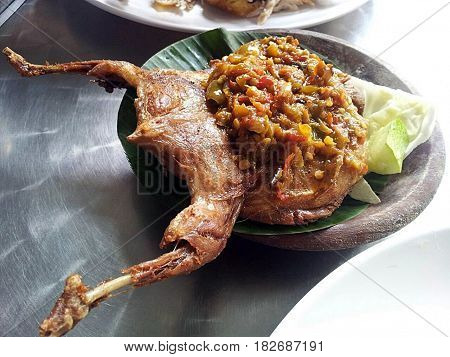 Delicious Quail fried spicy chilli spicy served with