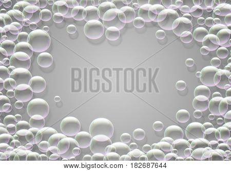 Soap bubbles background with rainbow colored airy foam round frame