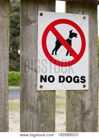 A Sign Saying No Dogs Red Black And White Park Safety Clean Area Private Icon Circle Crossed
