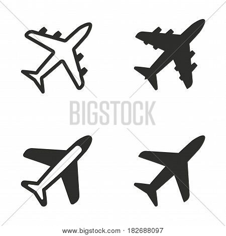 Airplane vector icons set. Black illustration isolated for graphic and web design.