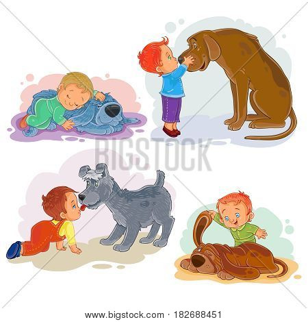 Collection of clip art illustrations of little boys and their dogs