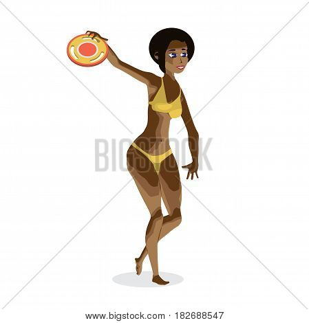 A young afro woman is playing in a frisbee at the beach. A girl in a bikini is doing sports. Flat isolated vector illustration