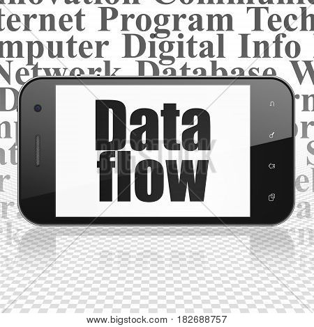 Data concept: Smartphone with  black text Data Flow on display,  Tag Cloud background, 3D rendering
