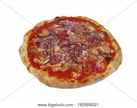 Pizza with tuna and onion over food italia