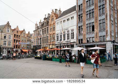 Bruges Belgium - July 29 2016: The Markt Square in the city of Bruges. The historic city centre is a World Heritage Site of UNESCO. It is known for his picturesque cobbled lanes and dreamy canals