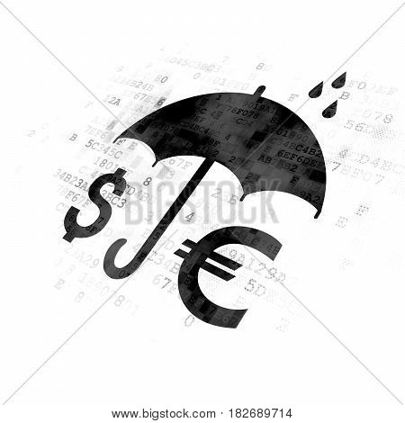 Privacy concept: Pixelated black Money And Umbrella icon on Digital background