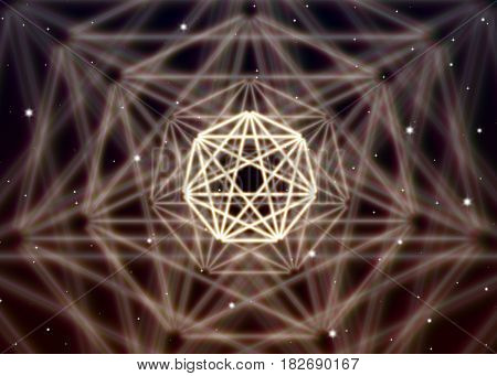 Magic heptagon symbol spreads the mystic energy in spiritual space