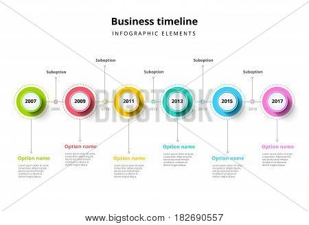 Business Timeline In Step Circles Infographics. Corporate Milestones Graphic Elements. Company Prese