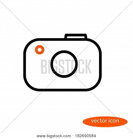 Simple vector line image of the camera with an orange eye linear icon flat style.