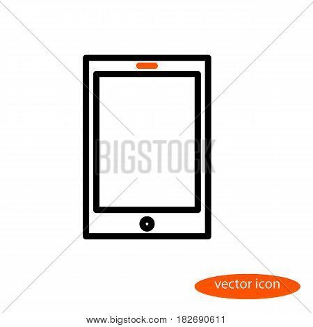 A simple vector linear image of an electronic book or tablet with an orange eye a line icon a flat style.