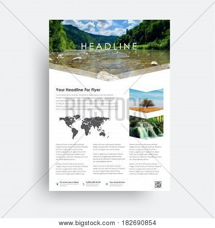 Design Flyer A4. Universal Brochure For Advertising Business, Travel, Food And More.
