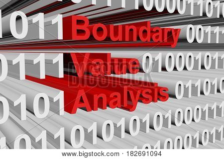 Boundary value analysis as a binary code 3D illustration