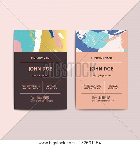 Trendy Abstract Business Card Templates. Modern Luxury Beauty Salon Or Cosmetic Shop Layout With Art