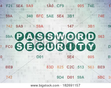 Security concept: Painted green text Password Security on Digital Data Paper background with Hexadecimal Code