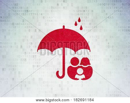 Privacy concept: Painted red Family And Umbrella icon on Digital Data Paper background