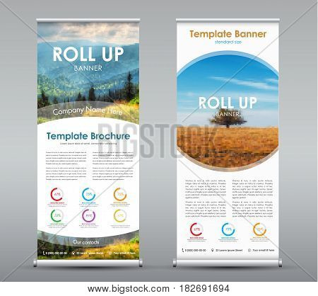 Set Of Vertical Roll Up Banners With Round Design Elements With Mountain Landscape And Field.