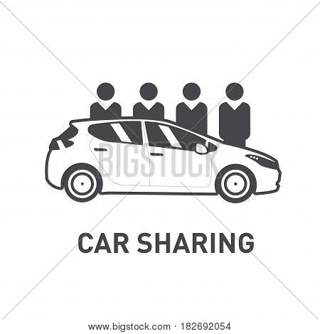 Car Sharing. Group of people behind car. Flat design. Line icon.