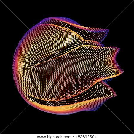 Abstract vector colorful mesh sphere on dark background. Futuristic style card. Elegant background for business presentations. Corrupted point sphere. Chaos aesthetics.