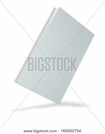 Blank hardcover book for design isolated on white background. 3d rendering.