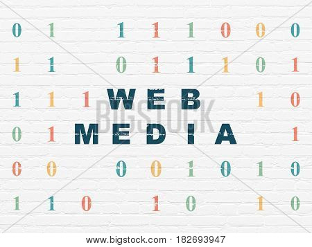 Web development concept: Painted blue text Web Media on White Brick wall background with Binary Code