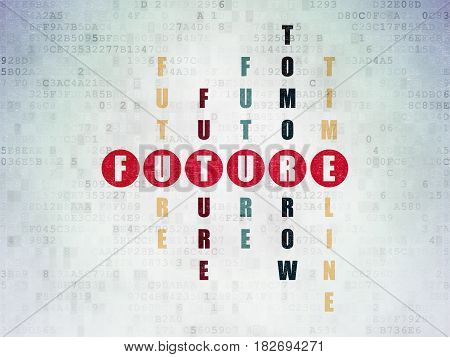 Time concept: Painted red word Future in solving Crossword Puzzle on Digital Data Paper background