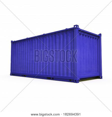 Blue freight shipping container isolated on white background. 3D illustration