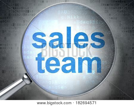 Advertising concept: magnifying optical glass with words Sales Team on digital background, 3D rendering