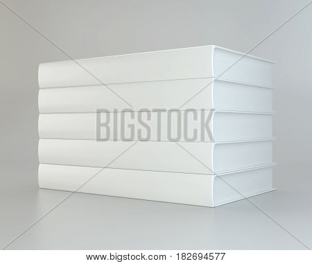 white stack realistic of books on gray background. 3d rendering.