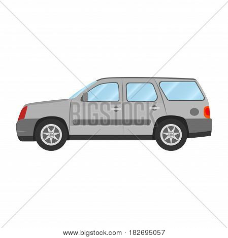 Car vector template on white background. Sport Utility Vehicle isolated. flat style, business design, grey Sport Utility Vehicle crossover car in side view.