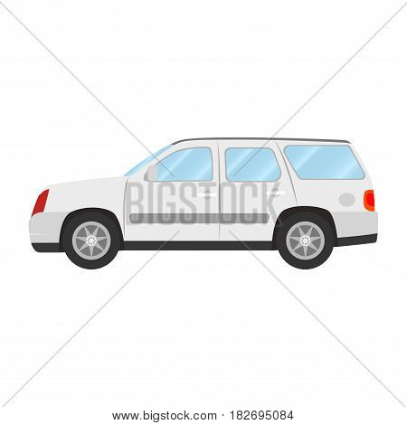Car vector template on white background. Sport Utility Vehicle isolated. flat style, business design, white Sport Utility Vehicle crossover car in side view.