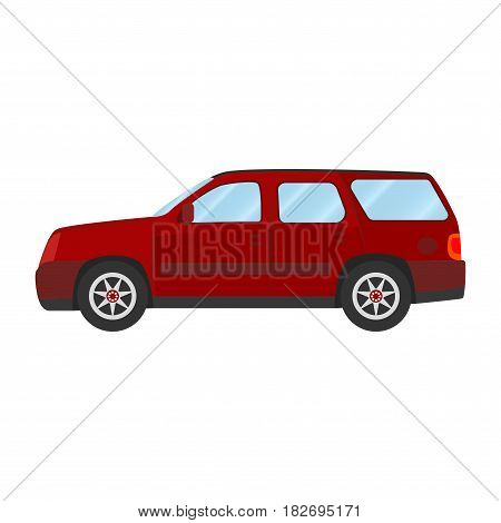 Car vector template on white background. Sport Utility Vehicle isolated. flat style, business design, red Sport Utility Vehicle crossover car in side view.
