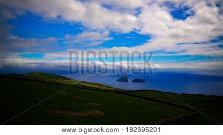 Sea view to Cabras islet near Terceira island Azores Portugal