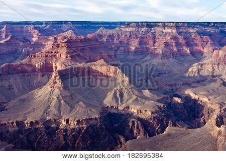 Soft light hits the Grand Canyon at dusk