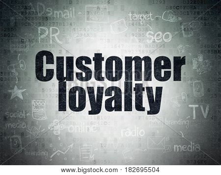 Marketing concept: Painted black text Customer Loyalty on Digital Data Paper background with  Scheme Of Hand Drawn Marketing Icons