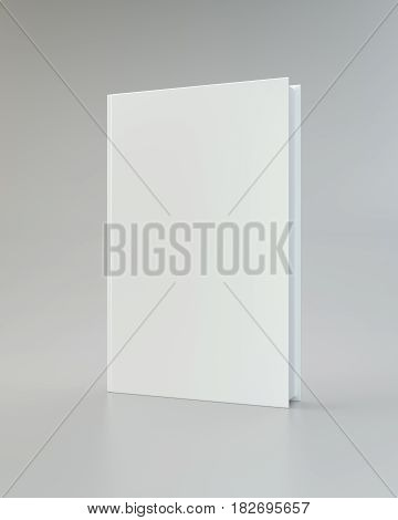 Blank vertical book cover template front side standing. Perspective view. 3d rendering