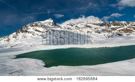 Ice Thaw In A High Mountain Landscape With A Lake