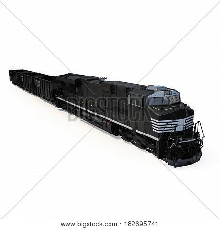 Cargo train with bogie Hopper Wagon on white background. 3D illustration