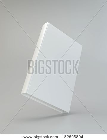 Blank vertical book cover template with pages. 3d rendering.